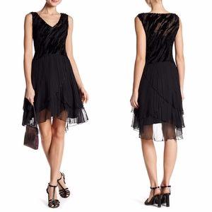KOMAROV V-Neck Tiered Skirt Dress